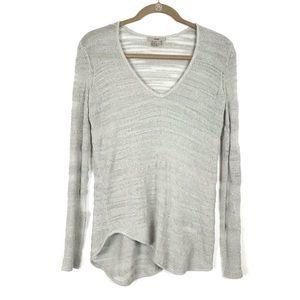Helmut Lang Open Knit Stripe Asymmetrical Sweater